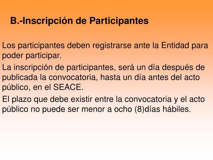 B.-Inscripción de Participantes