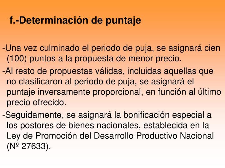 f.-Determinación de puntaje