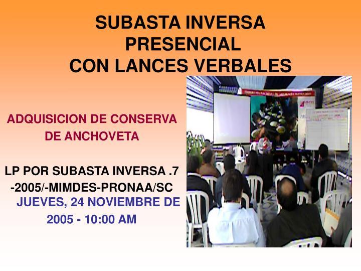 SUBASTA INVERSA