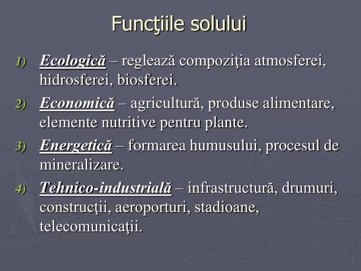 Funcţiile solului