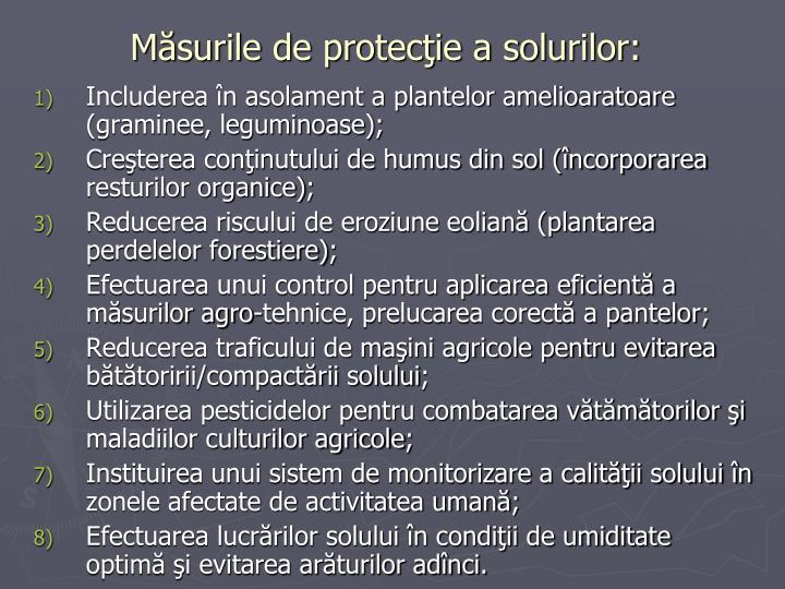 Măsurile de protecţie a solurilor