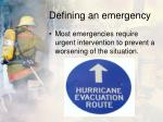 defining an emergency1