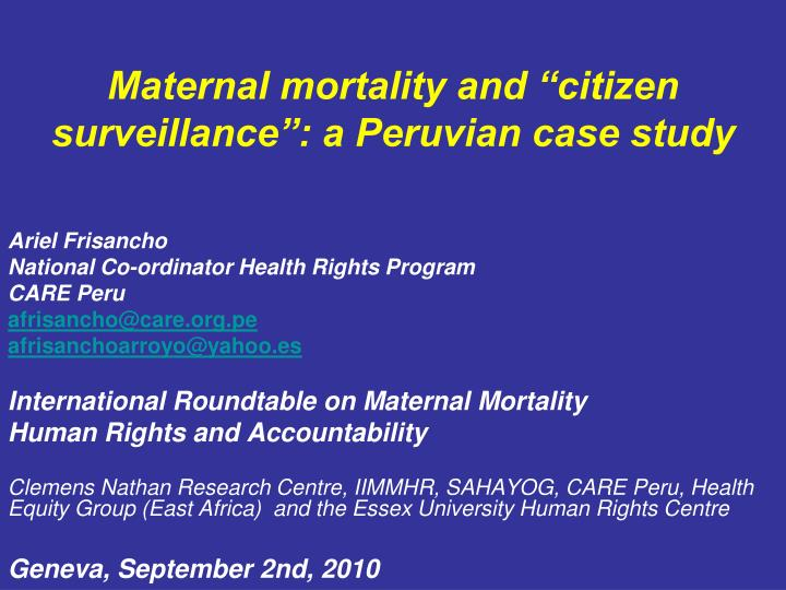 Maternal Mortality, Human Rights and Accountability