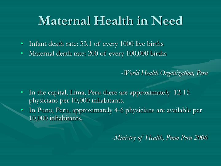 Maternal health in need