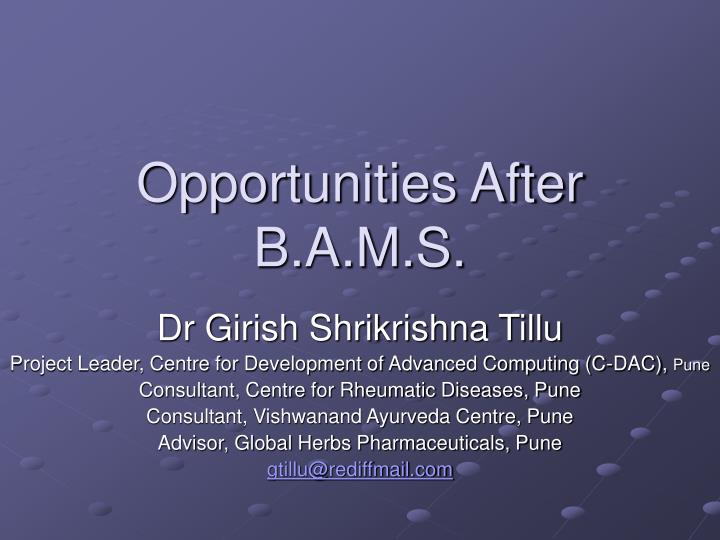 opportunities after b a m s n.