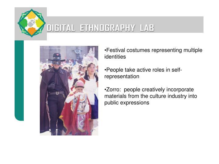 Festival costumes representing multiple identities