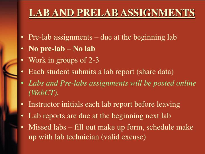 LAB AND PRELAB ASSIGNMENTS