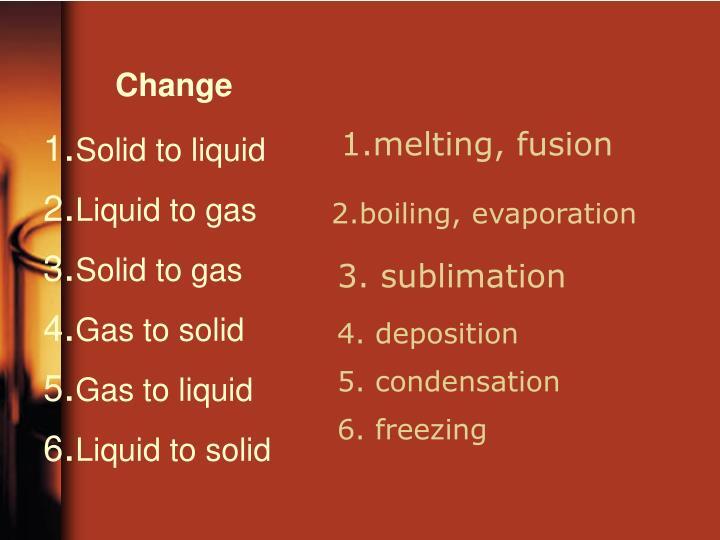 1.melting, fusion