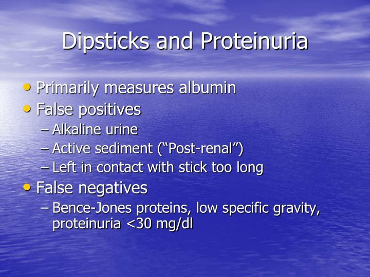 Dipsticks and Proteinuria