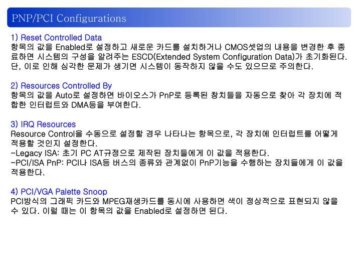 PNP/PCI Configurations