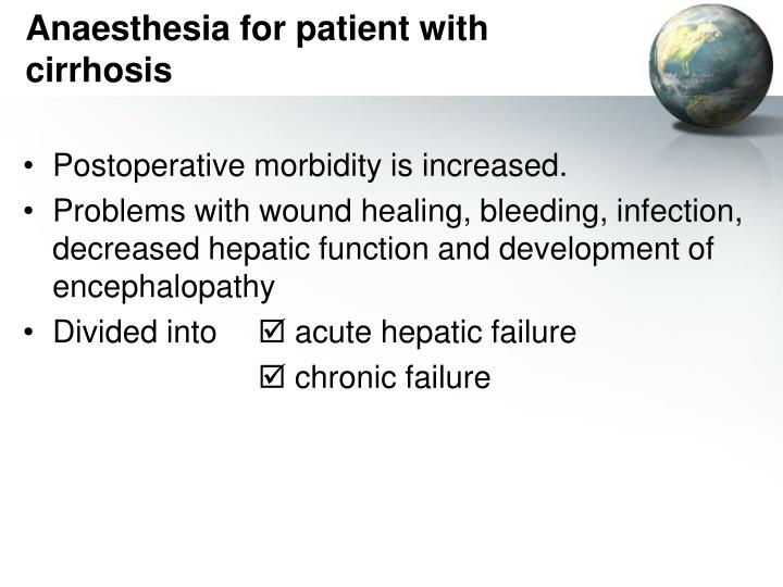 Anaesthesia for patient with cirrhosis