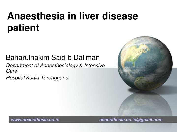 Anaesthesia in liver disease patient