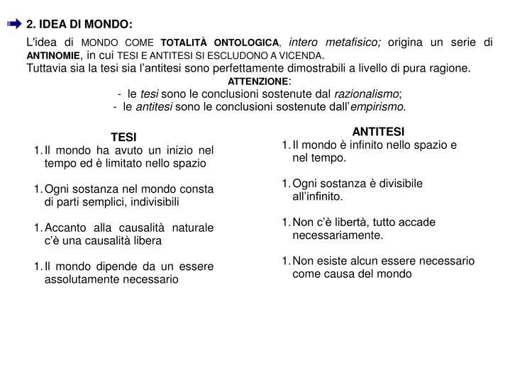 2. IDEA DI MONDO: