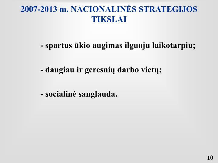 2007-2013 m. NACIONALINĖS STRATEGIJOS TIKSLAI