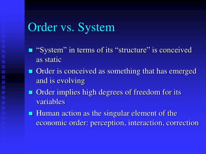 Order vs system