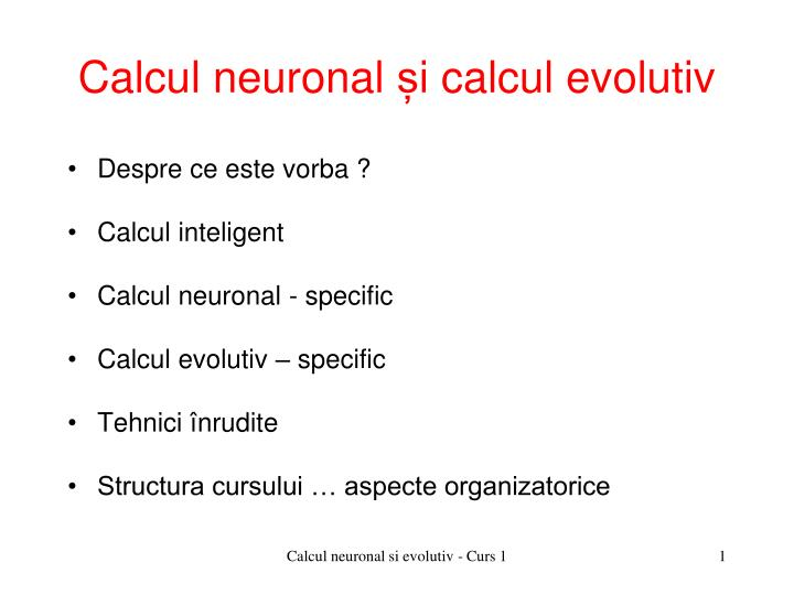 calcul neuronal i calcul evolutiv n.