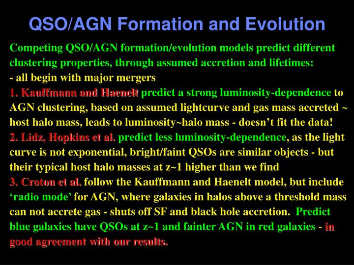 QSO/AGN Formation and Evolution