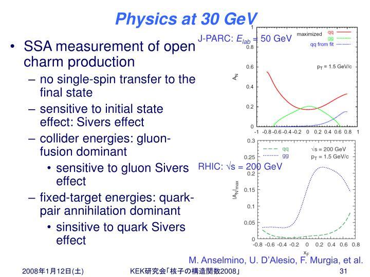 Physics at 30 GeV