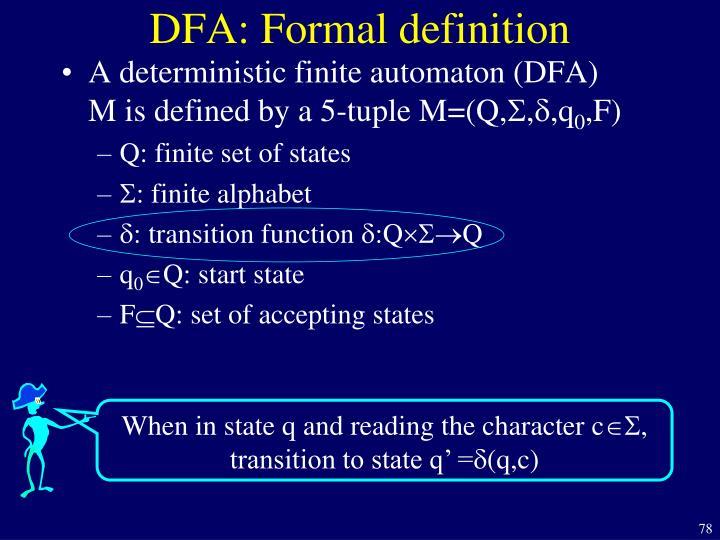 DFA: Formal definition