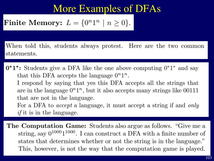 More Examples of DFAs