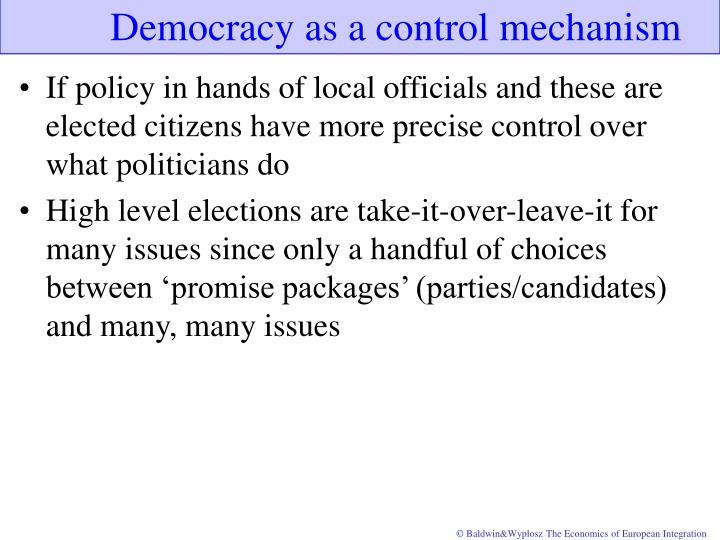 Democracy as a control mechanism