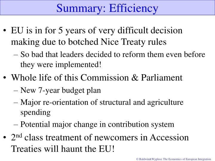 Summary: Efficiency