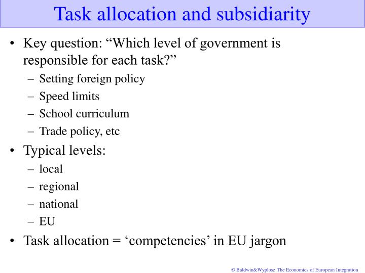 Task allocation and subsidiarity