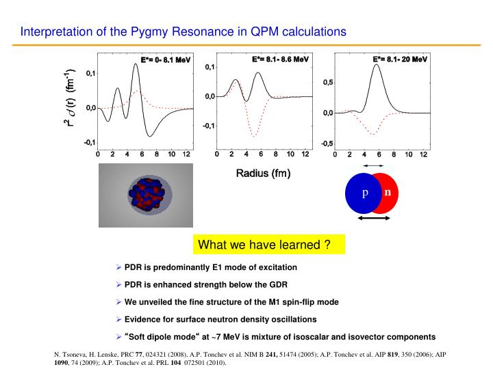 Interpretation of the Pygmy Resonance in QPM calculations