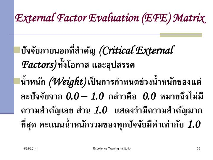 External Factor Evaluation (EFE) Matrix