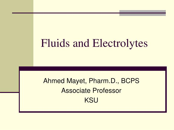 fluids and electrolytes n.