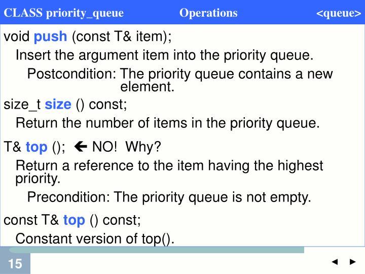 CLASS priority_queue