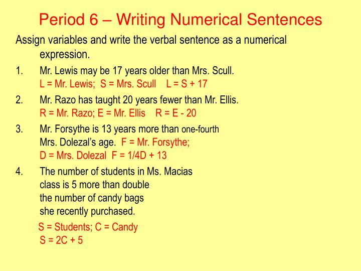 Period 6 – Writing Numerical Sentences