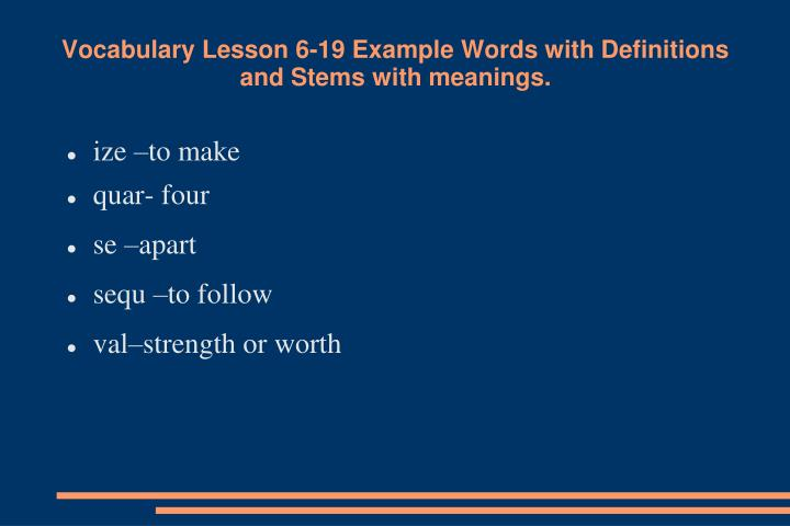vocabulary lesson 6 19 example words with definitions and stems with meanings n.
