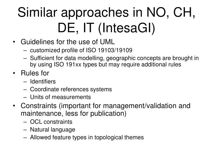 Similar approaches in NO, CH, DE, IT (IntesaGI)