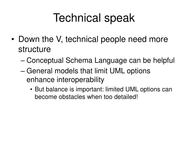 Technical speak