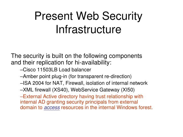 Present web security infrastructure