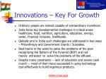 innovations key for growth