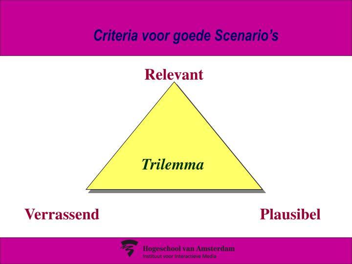Criteria voor goede Scenario's
