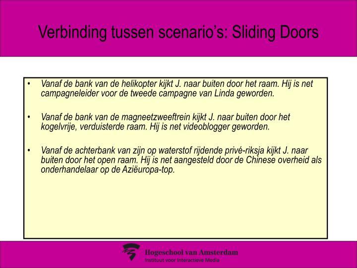 Verbinding tussen scenario's: Sliding Doors