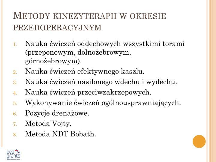Metody kinezyterapii w okresie przedoperacyjnym