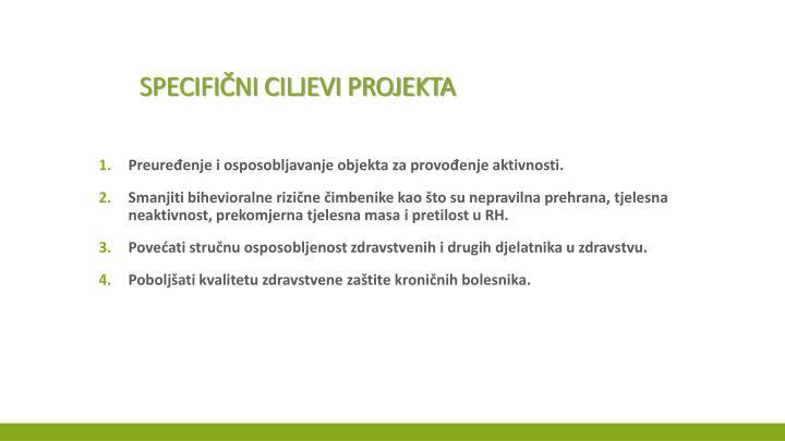 Specifični ciljevi projekta