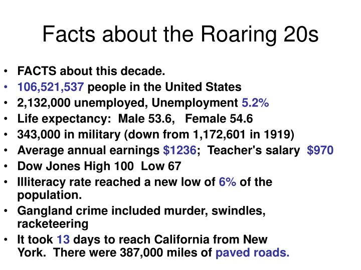 Facts about the Roaring 20s