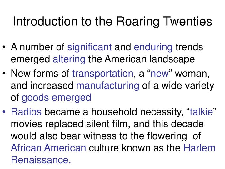 Introduction to the roaring twenties1