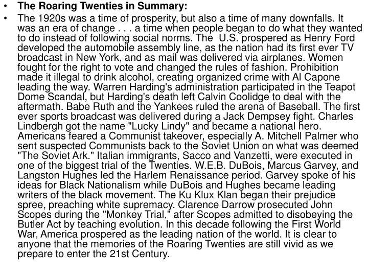 The Roaring Twenties in Summary: