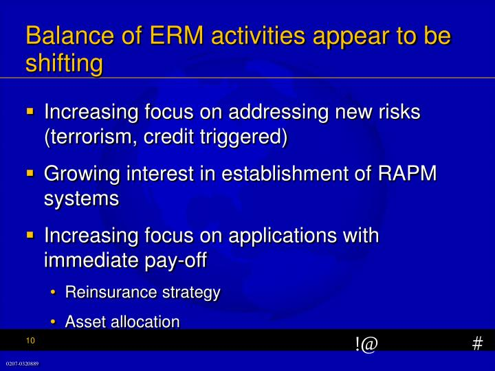 Balance of ERM activities appear to be shifting