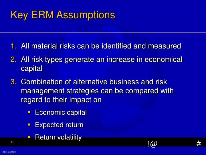 Key ERM Assumptions