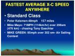 fastest average x c speed anywhere
