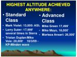 highest altitude achieved anywhere