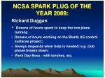 ncsa spark plug of the year 2009