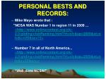 personal bests and records